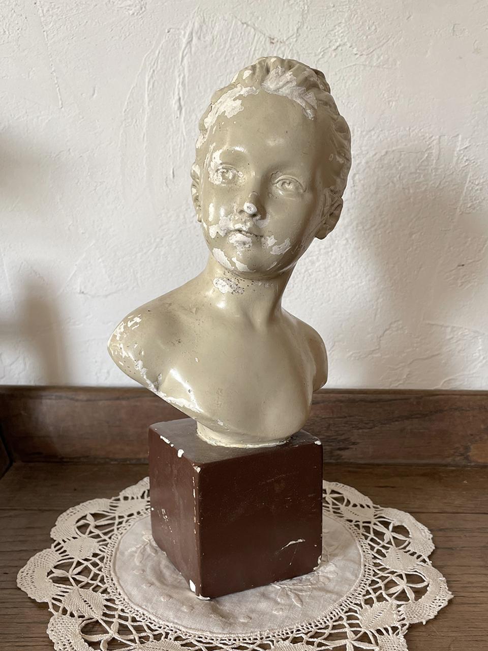 フランス 少女の胸像 石膏