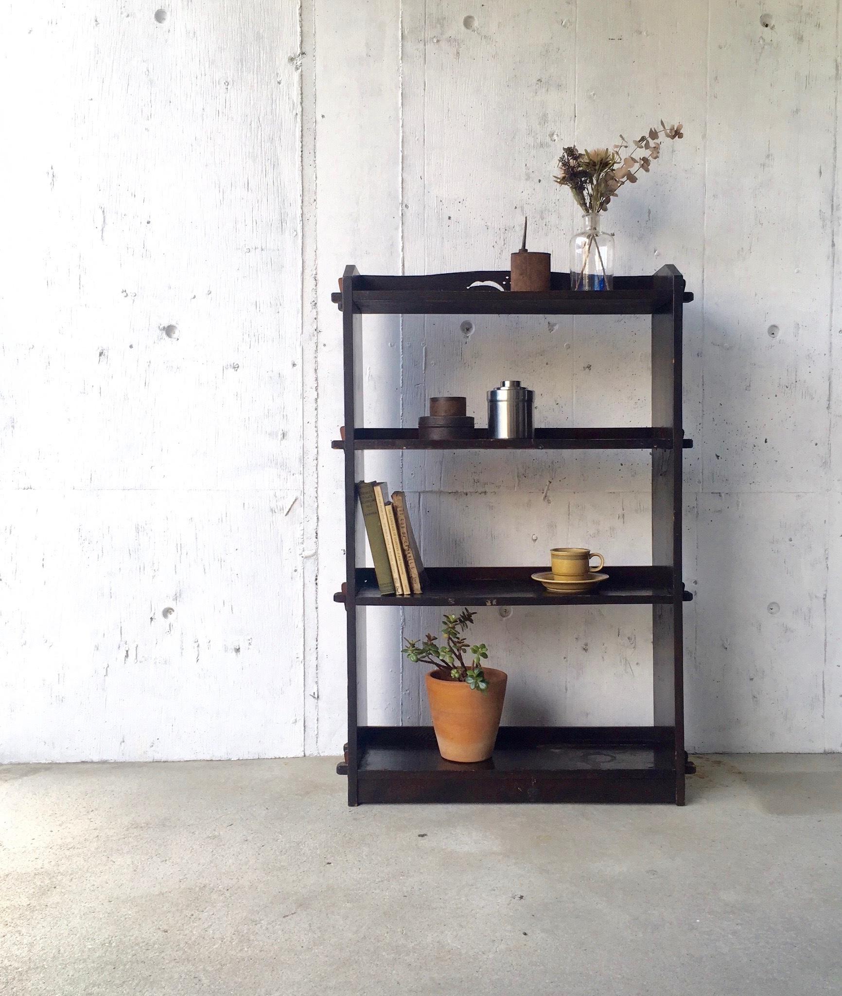 濃い木味のディスプレイ棚[古家具]
