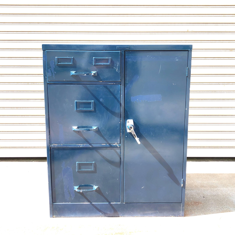 品番5030 50年代 ファイル キャビネット ロッカー 内部ダイヤルロック式 ブルー ヴィンテージ