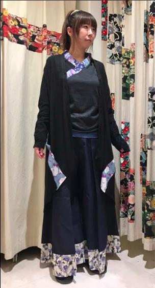 gouk侍 裾和柄切り替え袴風プリーツパンツ GGD27-P807 NV/MM