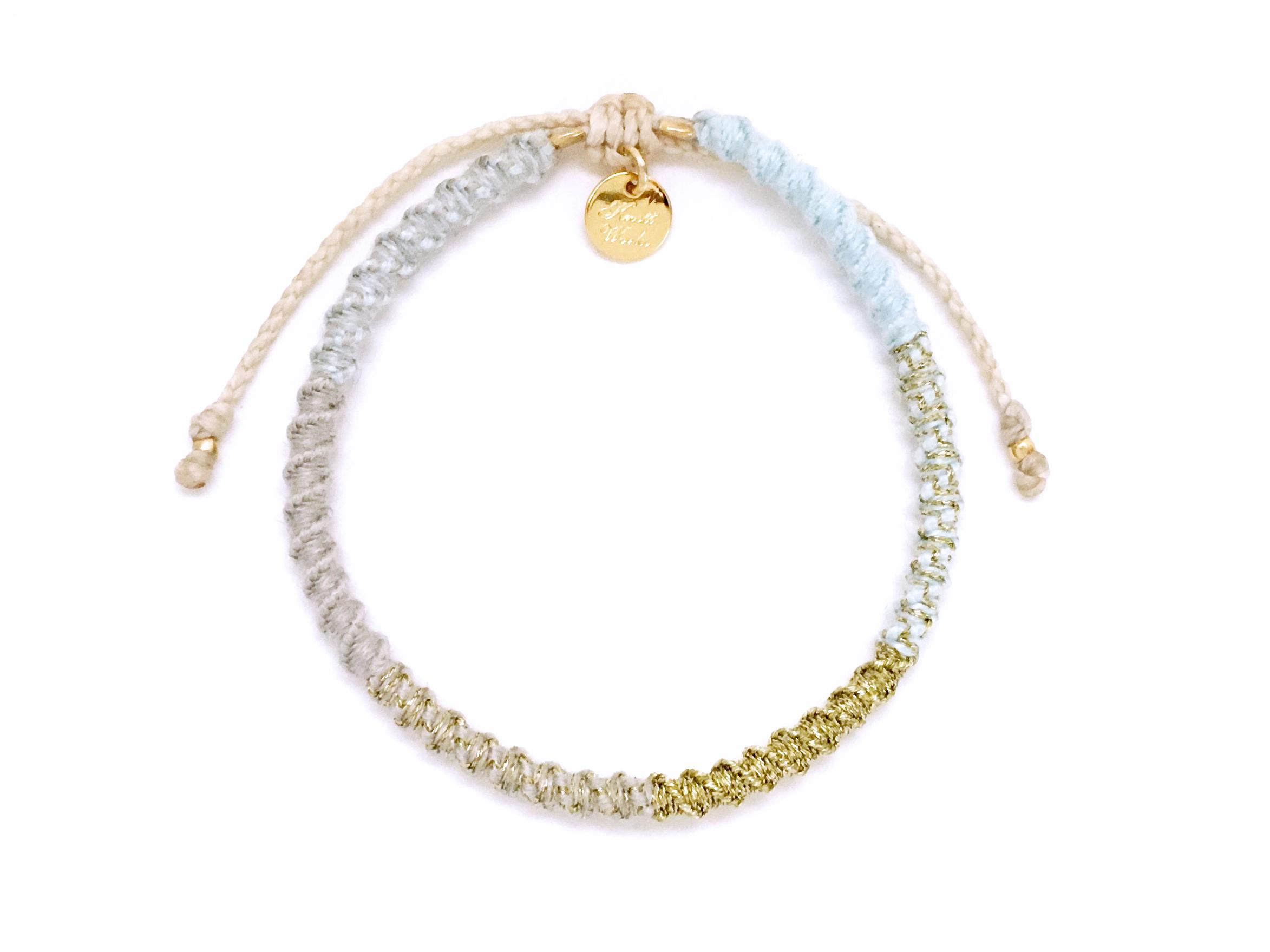 Check Patterned Bracelet / Snow Blue[チェック柄ミサンガブレスレット]