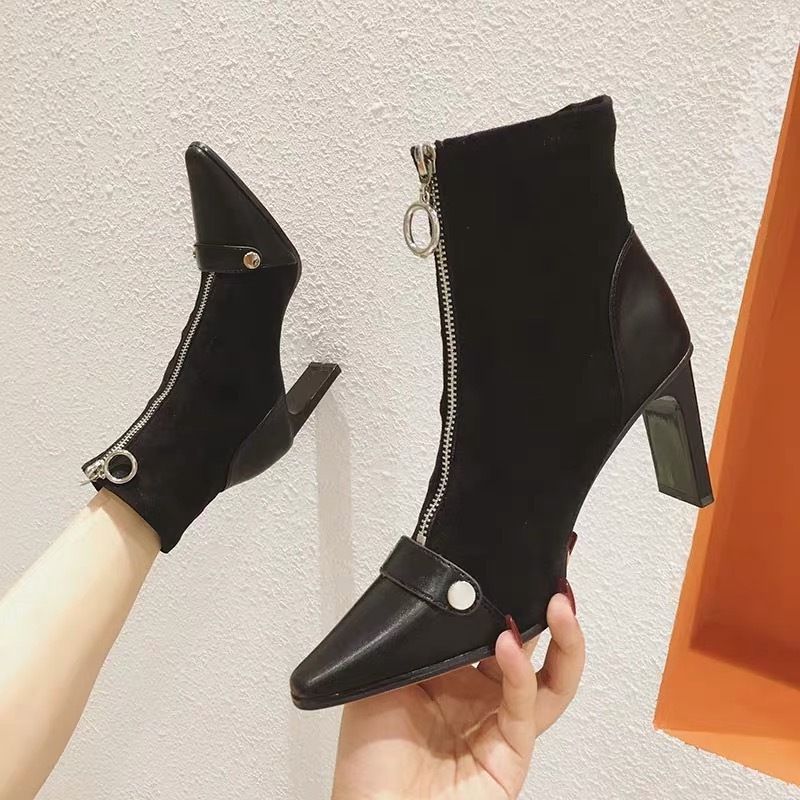 toe leather suede boots