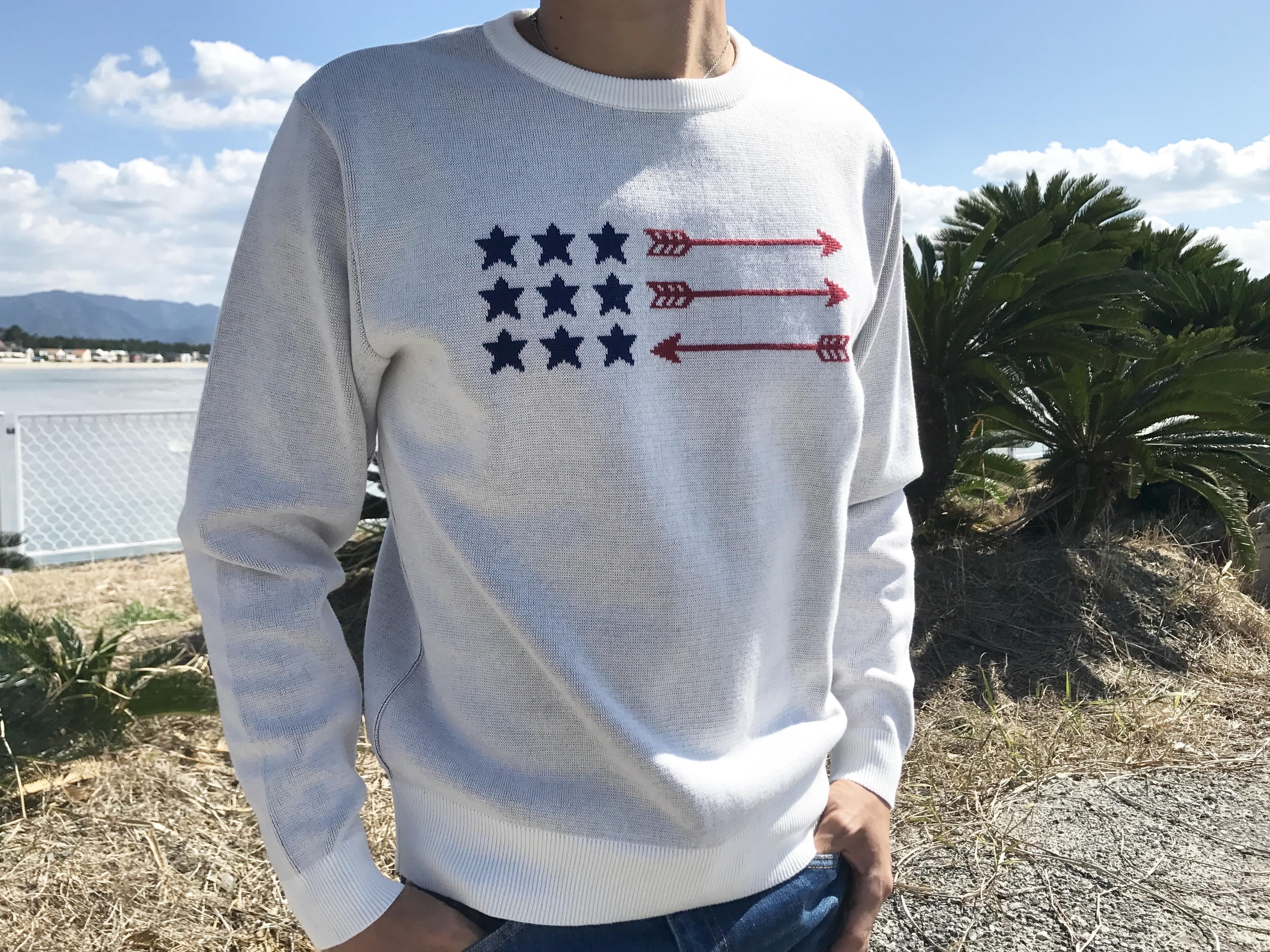 USA Arrow Flag クルーネックニット(white)