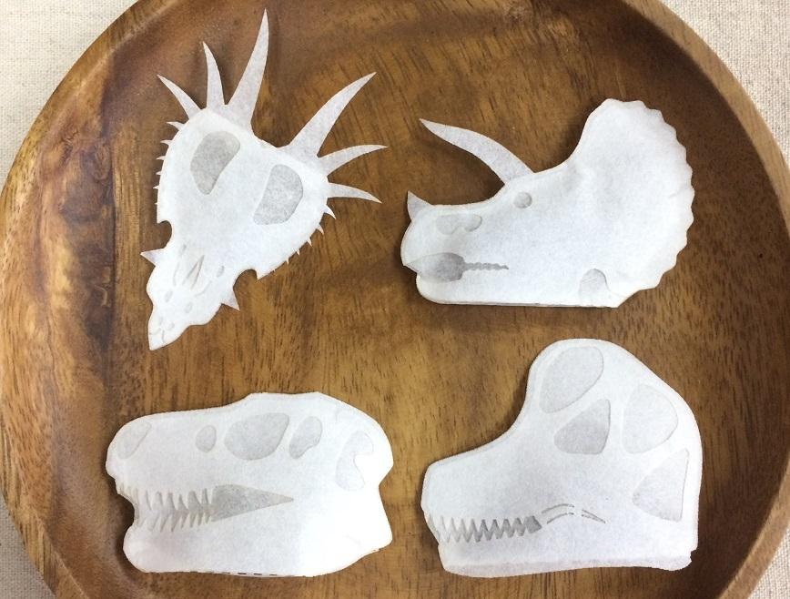 恐竜頭骨のティーバッグ 4種セット ティラノ、トリケラ、ブラキオ、スティラコサウルス