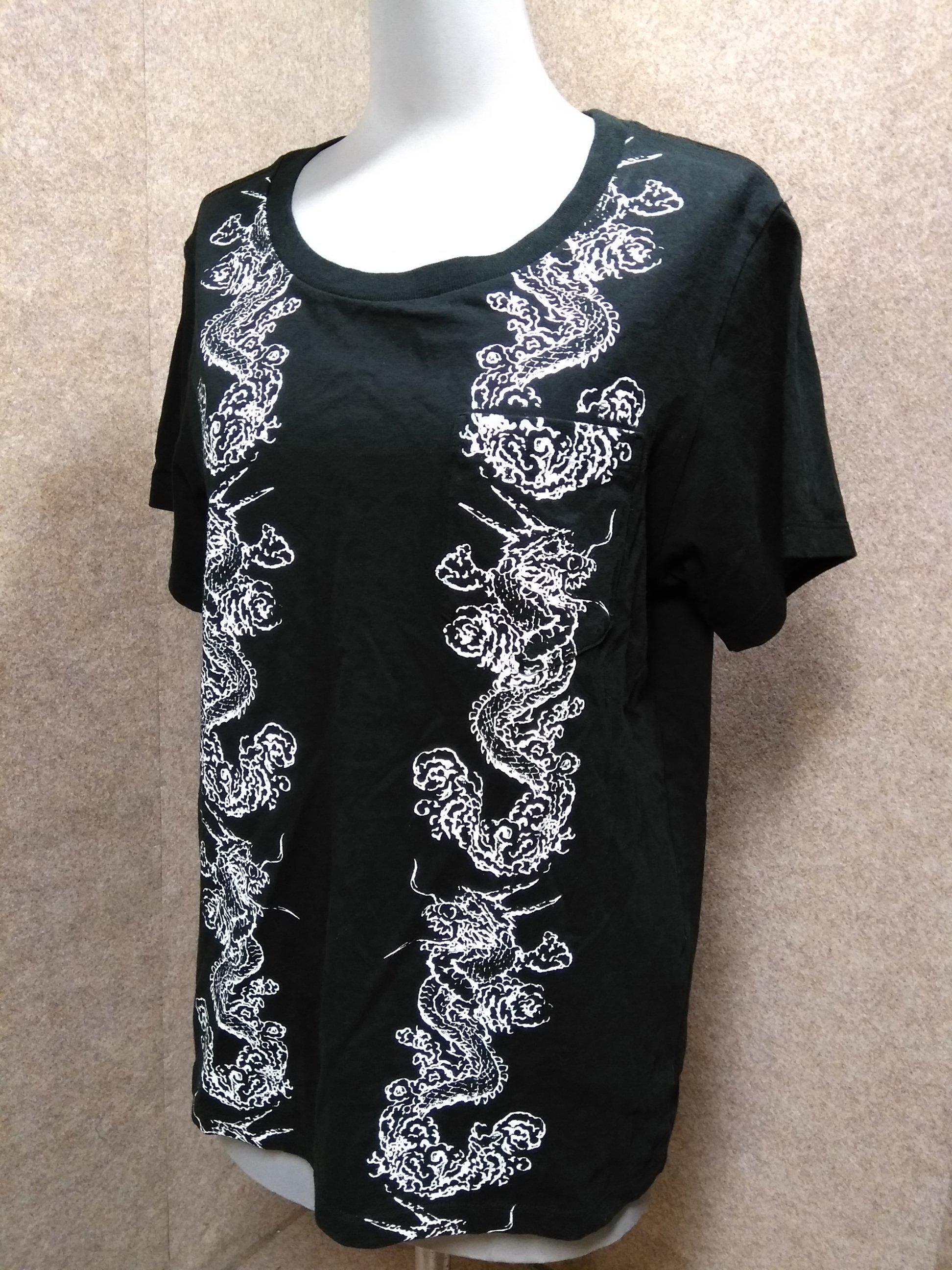 AVIREX アヴィレックス Tシャツ F ドラゴン 黒 胸ポケ u1397j
