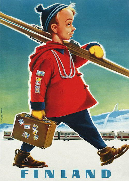 "Come to Finland カムトゥフィンランド インテリア レトロ A4 アートポスター ""スキーボーイ"""
