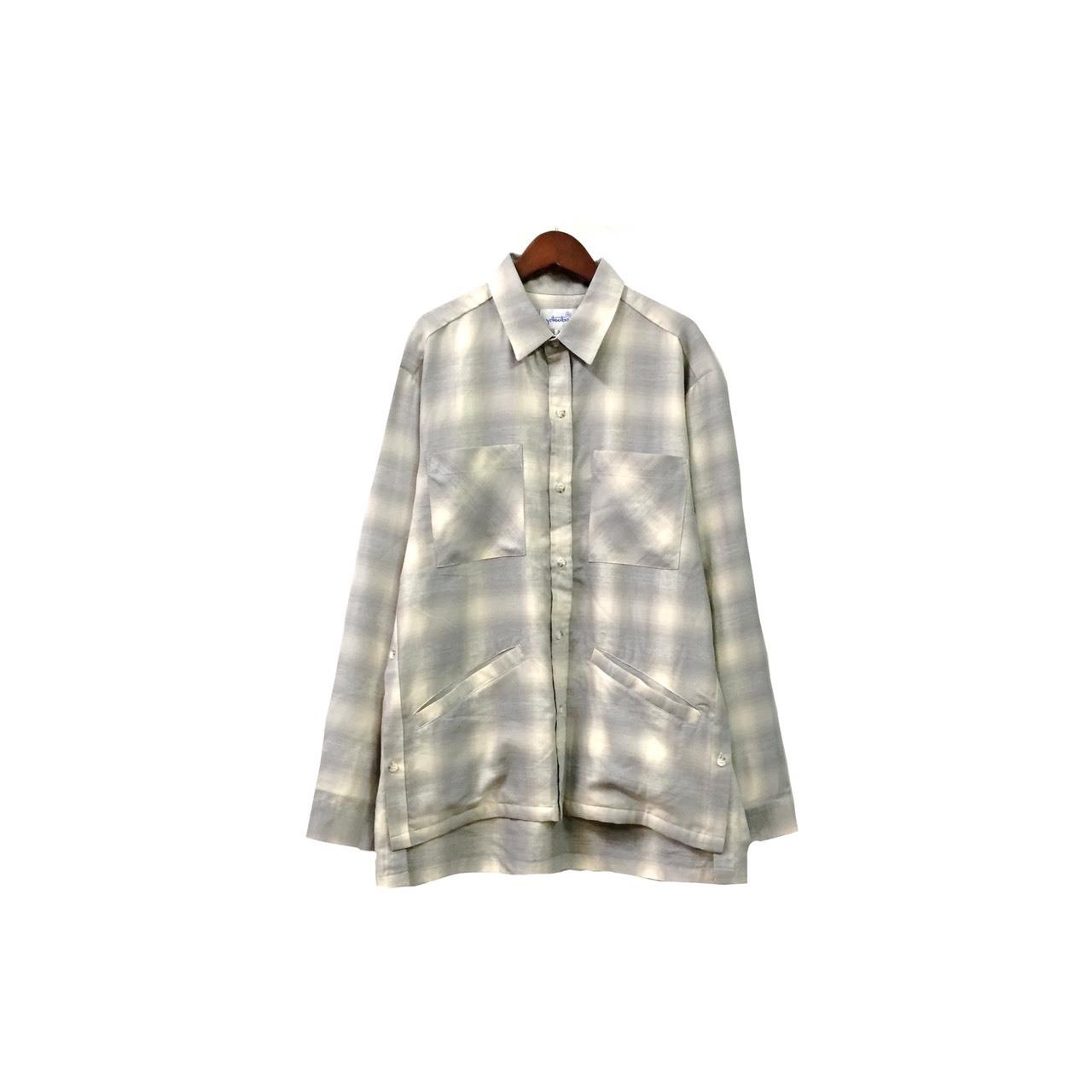 yotsuba - Cotton & Rayon Check Shirt / Gray ¥22000+tax