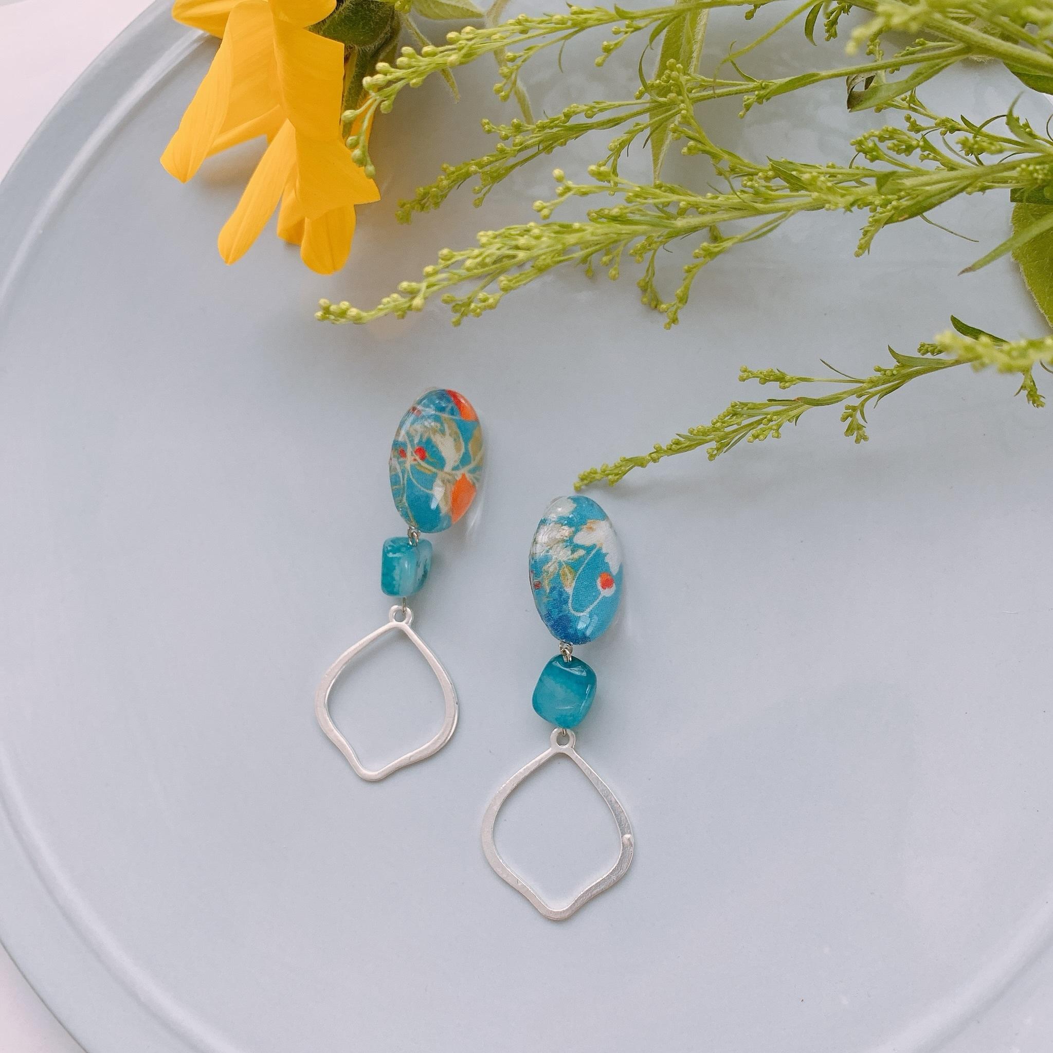 """ Earrings NO.danoan-9″リバティ×天然石とモロッカンチャーム"