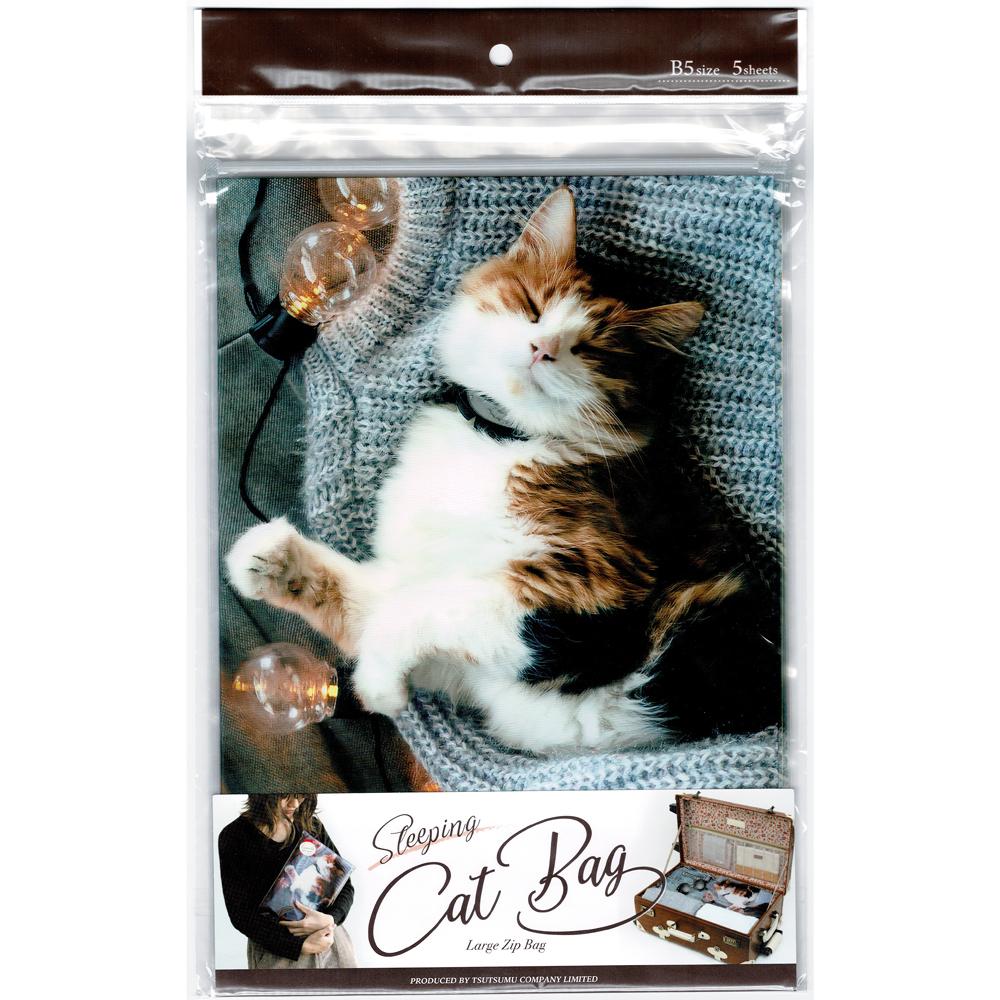 猫ジップバッグ(B5お昼寝ジップBAG)レオ