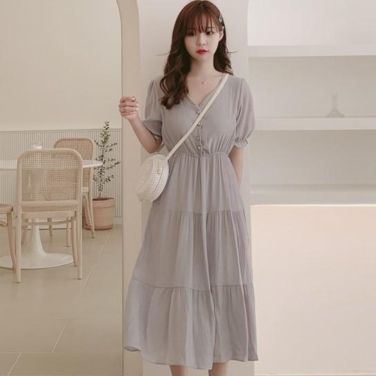 【dress】ファッション透かし彫りロングデートワンピース22308501