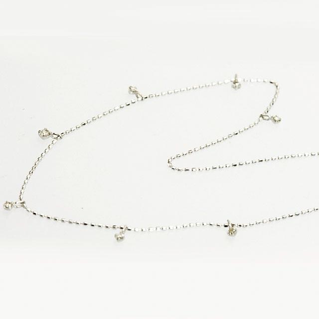 ダイヤ K18ホワイトゴールド ダイヤモンド7個付きネックレス