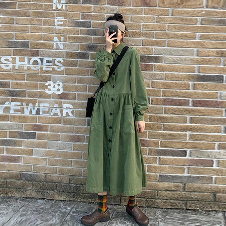 【送料無料】くしゅっと袖が可愛い ♡ カジュアル ボリューム袖 襟付き ミリタリー Aライン フレア ロング シャツ ワンピース