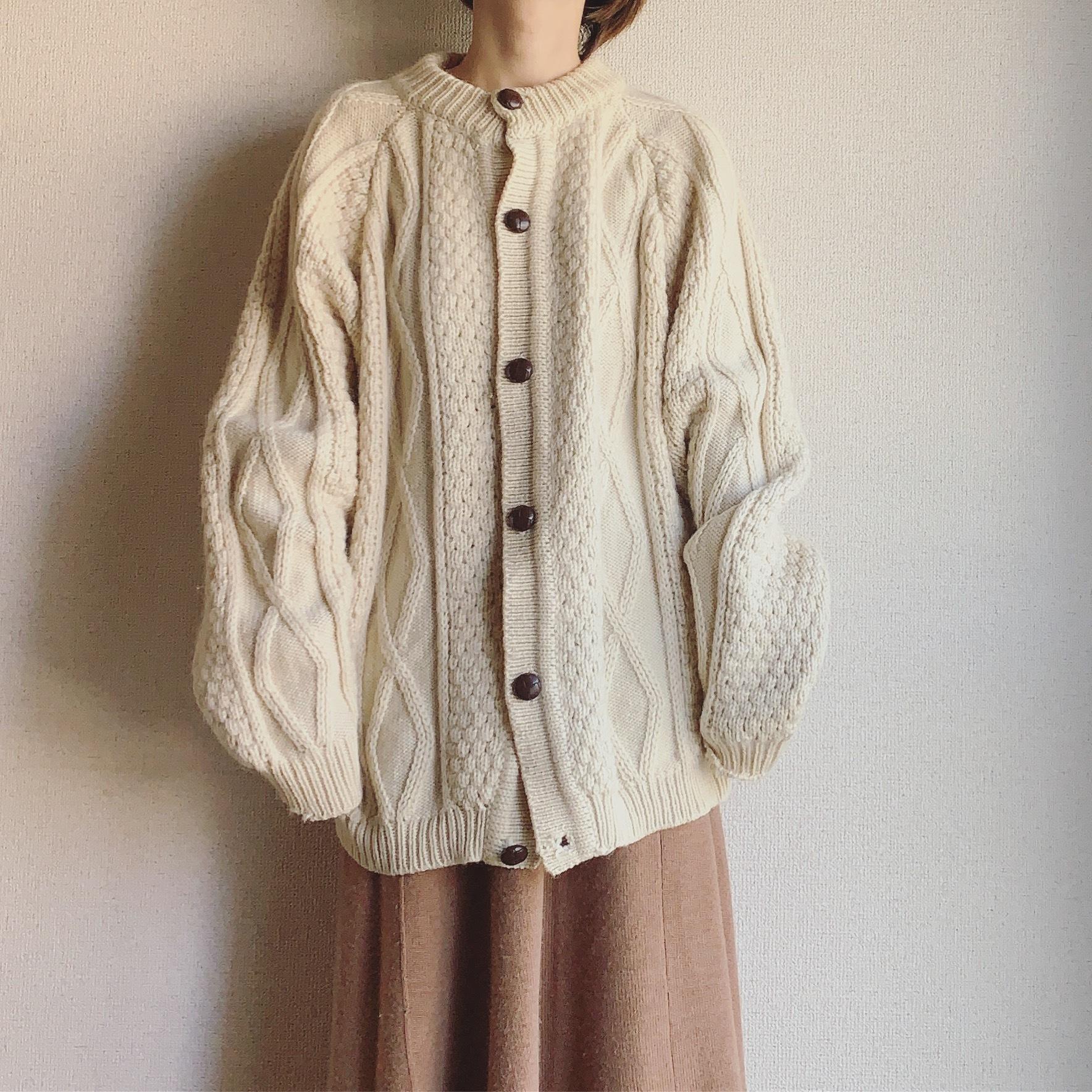 vintage Aran knit fisherman cardigan