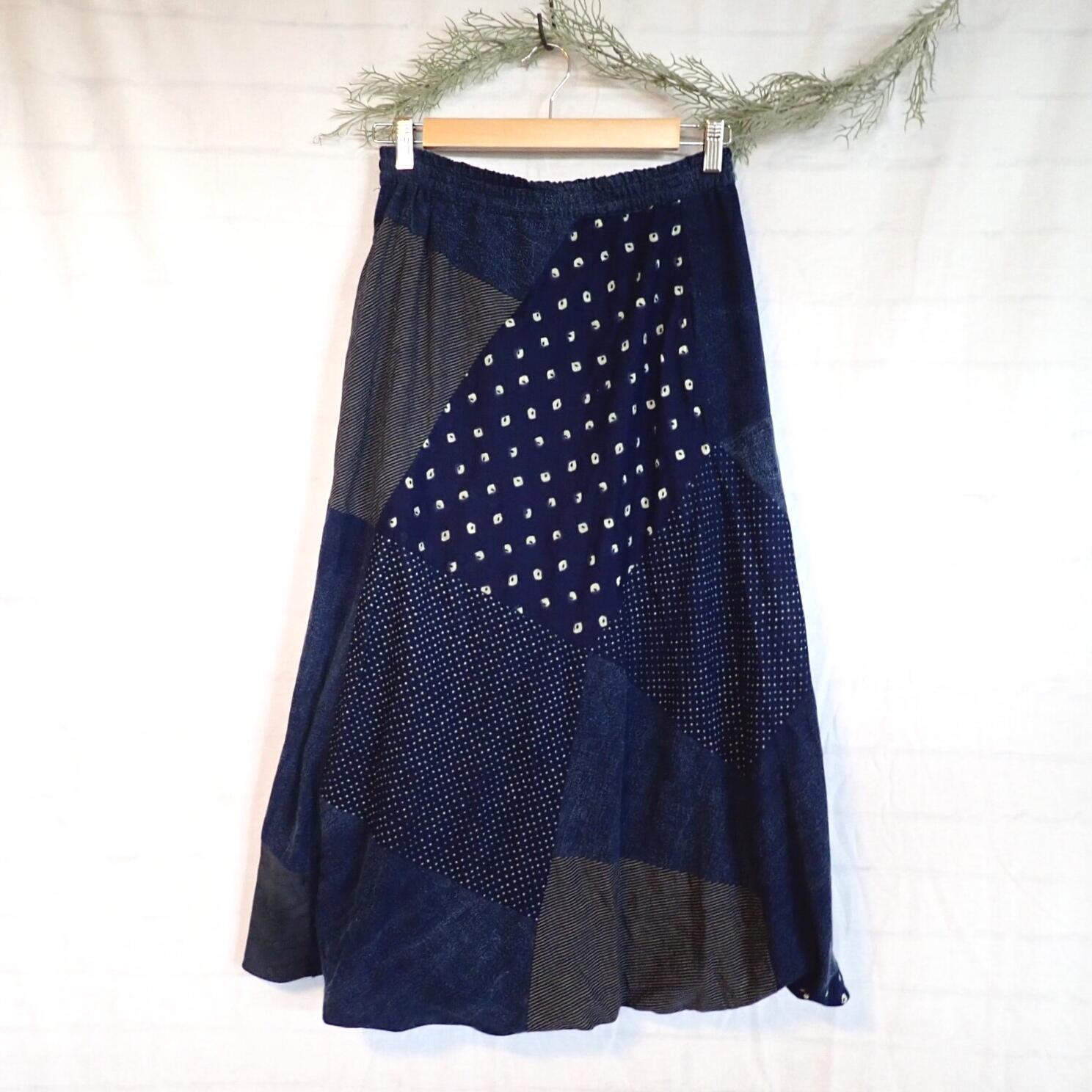チェンマイ いろんな生地のパッチワークバルーンロングスカート