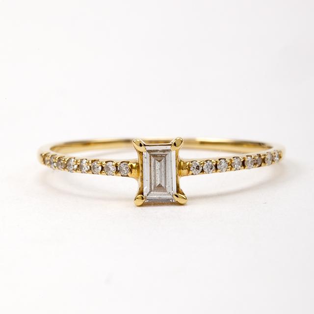 エメラルドカット ダイヤモンド リング 0.10ct  K18イエローゴールド チェカ 鑑別書付