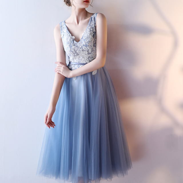 フラワー刺繡Vネック&チュチュ ◆ フレアドレス