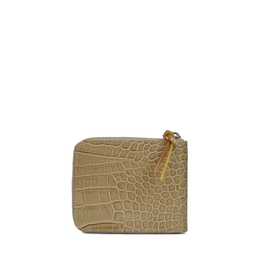 WALLET SQUARE BEIGE with HORN PULLER