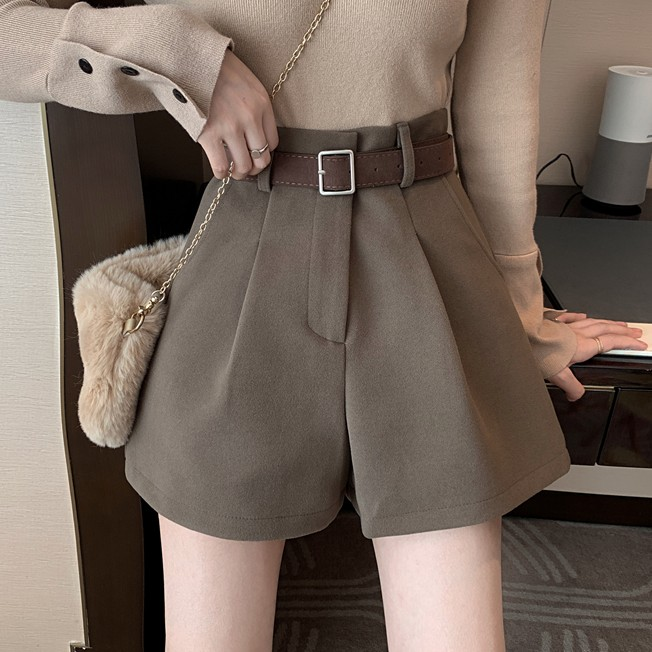 【bottoms】ラシャーハイウエストファッションショートパンツ25387430