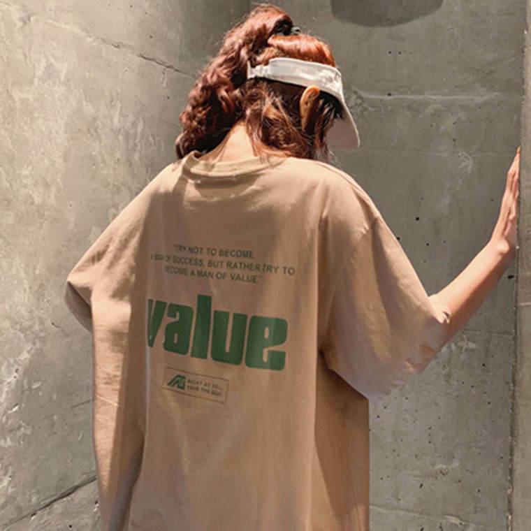 【送料無料】 メンズライクコーデに♡ バック ロゴ オーバーサイズ Tシャツ ストリート カジュアル