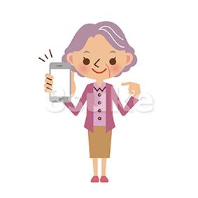 イラスト素材:スマートフォンを持つおばあちゃん(ベクター・JPG)