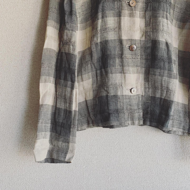 vintage stand collar hemp tops