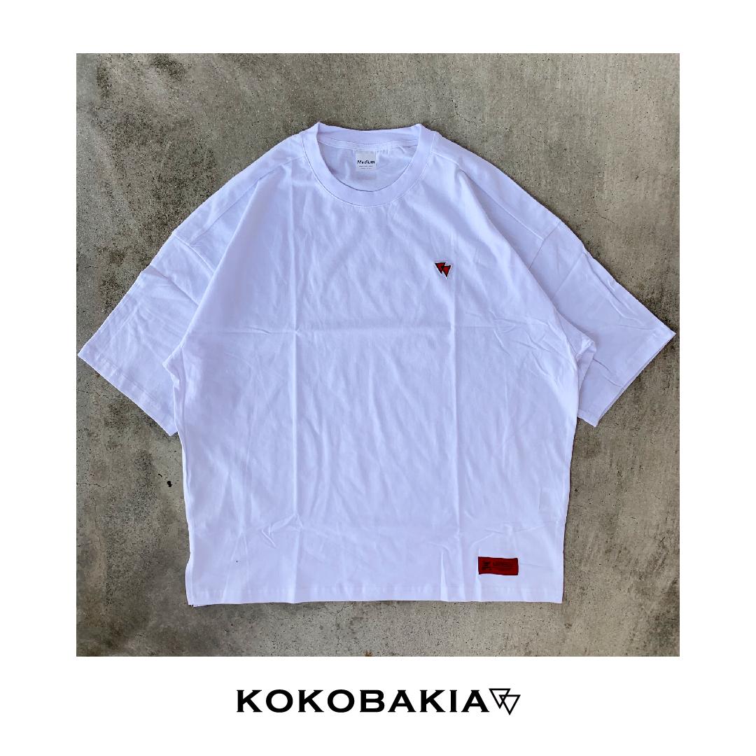 半袖 Tシャツ ビックシルエット カットソー KOKOBAKIA ワッペン ホワイト ドロップショルダー  メンズ レディース #ロックファッション #ストリートファッション