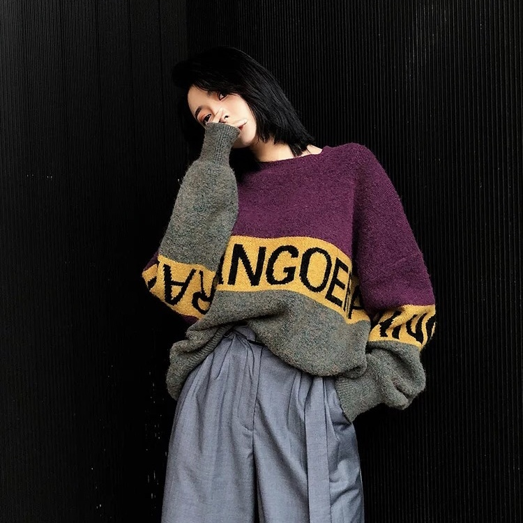 irregularity color loose knit