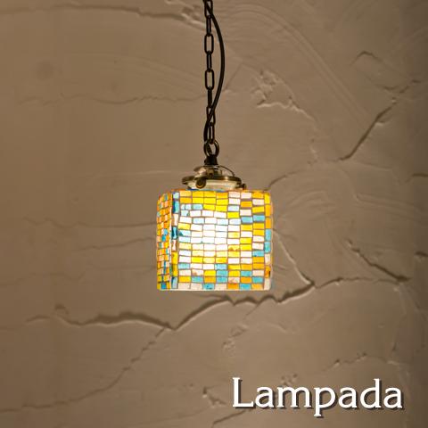 IDP668 インド・モザイクガラス ペンダントライト(レクタングル)