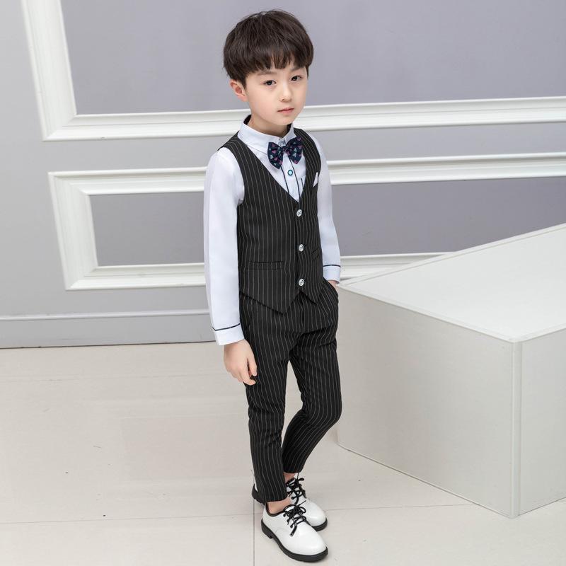 フォーマルベスト4点セット ブラックストライプ×ホワイトシャツ【184】