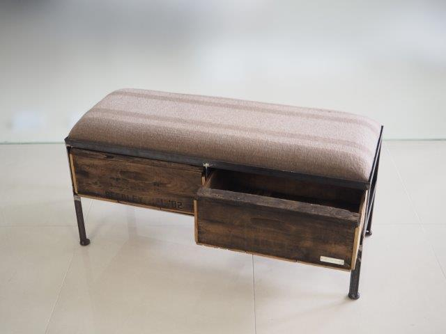 品番UEM2-108  2drawer ottoman[nerrow/European military blanket]