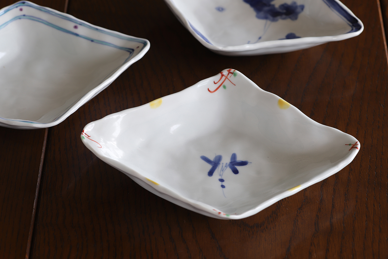 松尾貞一郎 ひし形取皿 191217-K9 貞土窯(有田焼)