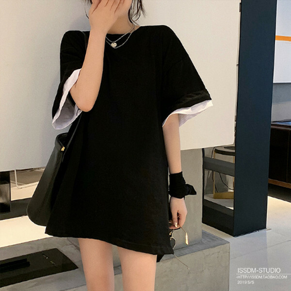 レイヤード風 ラウンドネック Tシャツ 3カラー tk2044
