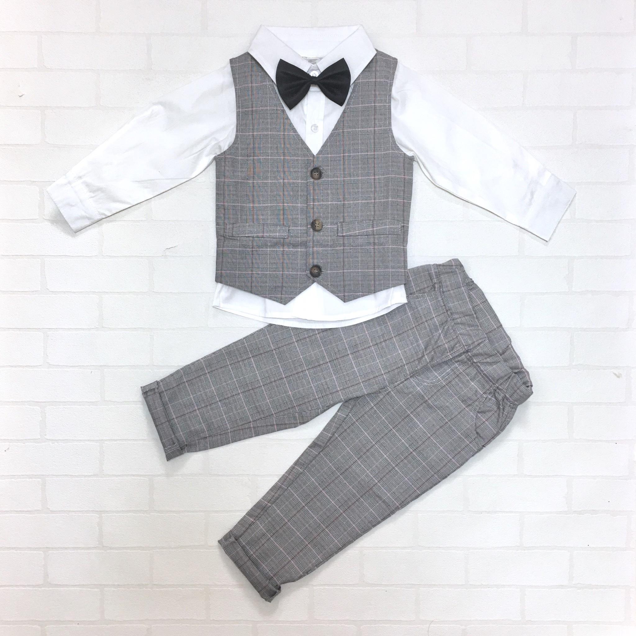【送料無料】フォーマルベスト4点セット グレンチェック×ホワイトシャツ【168】