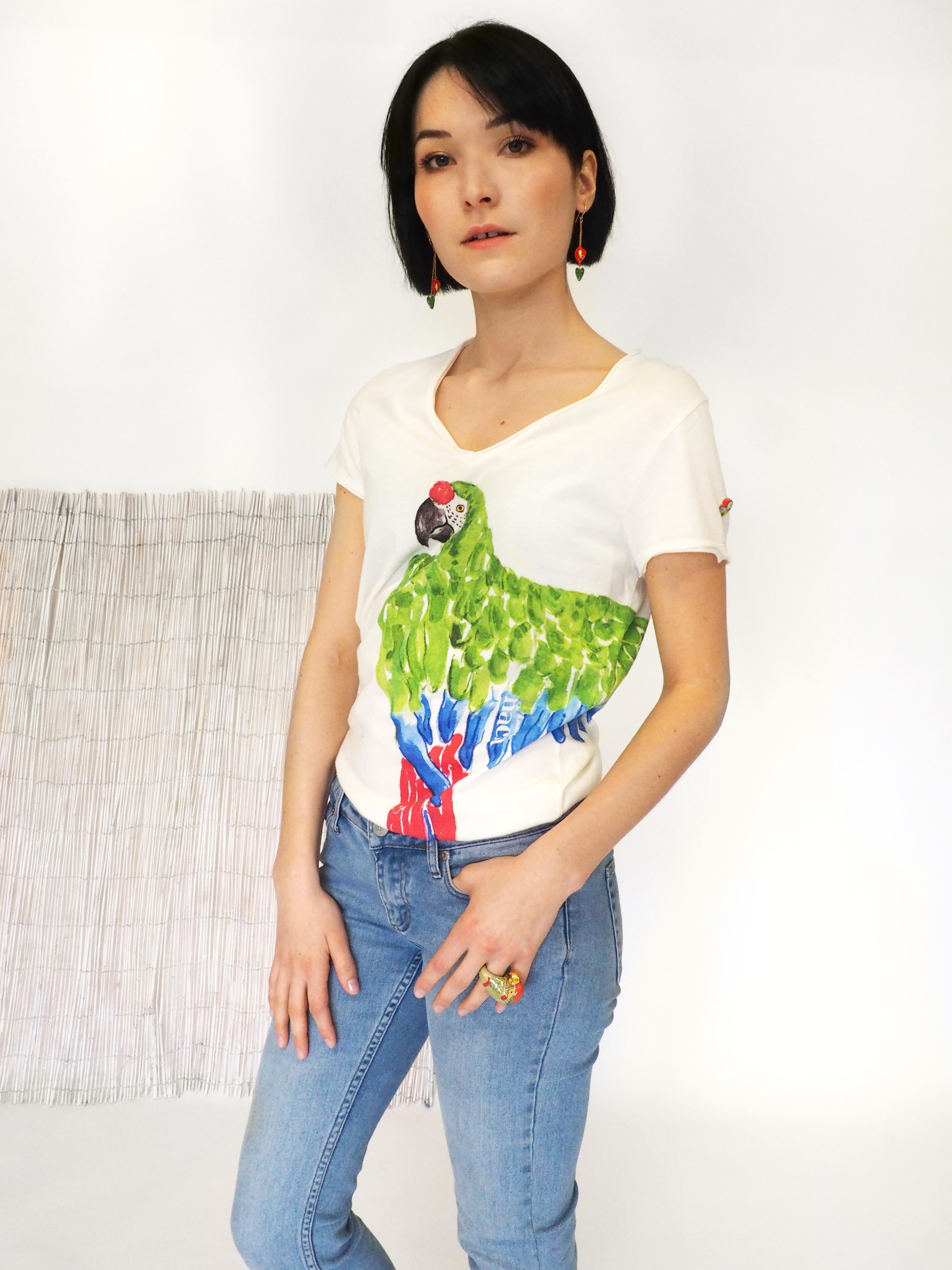 ナッシュ Tシャツ グリーンオウム