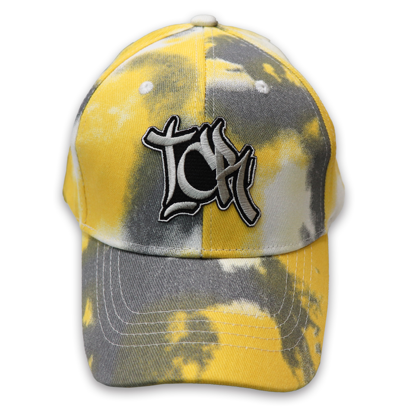 T.C.R EMBROIDERY TIE DYE CAP - YELLOW / GRAY