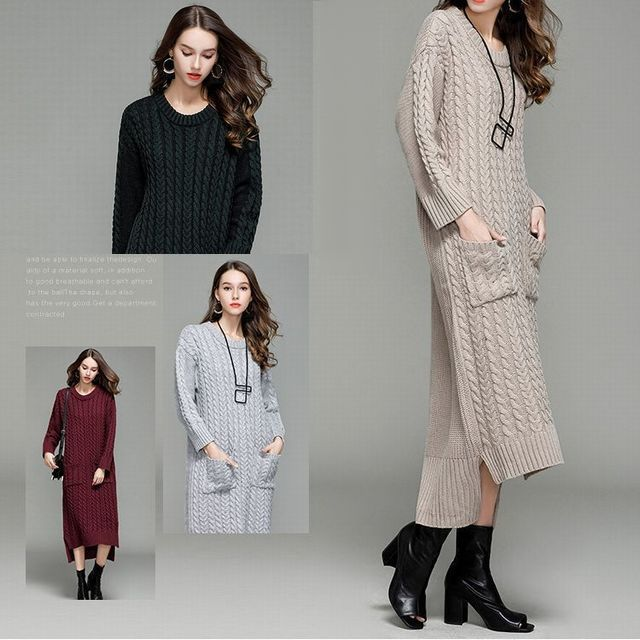 d3bef83ec5bcf クラシックツイストパターンルーズセーターロングワンピース / Women Long Length Classic Twisted Pattern  Loose Sweater Dress (DCT-576557505405)