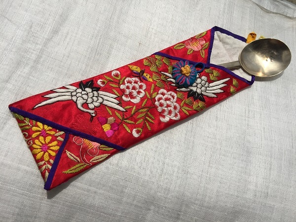 韓国伝統刺繍・さじ入れ アンティーク