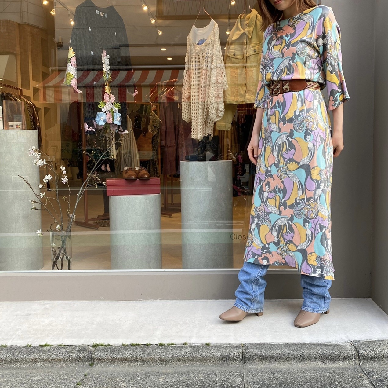 ◼︎70s vintage psychedelic print dress from U.S.A.◼︎