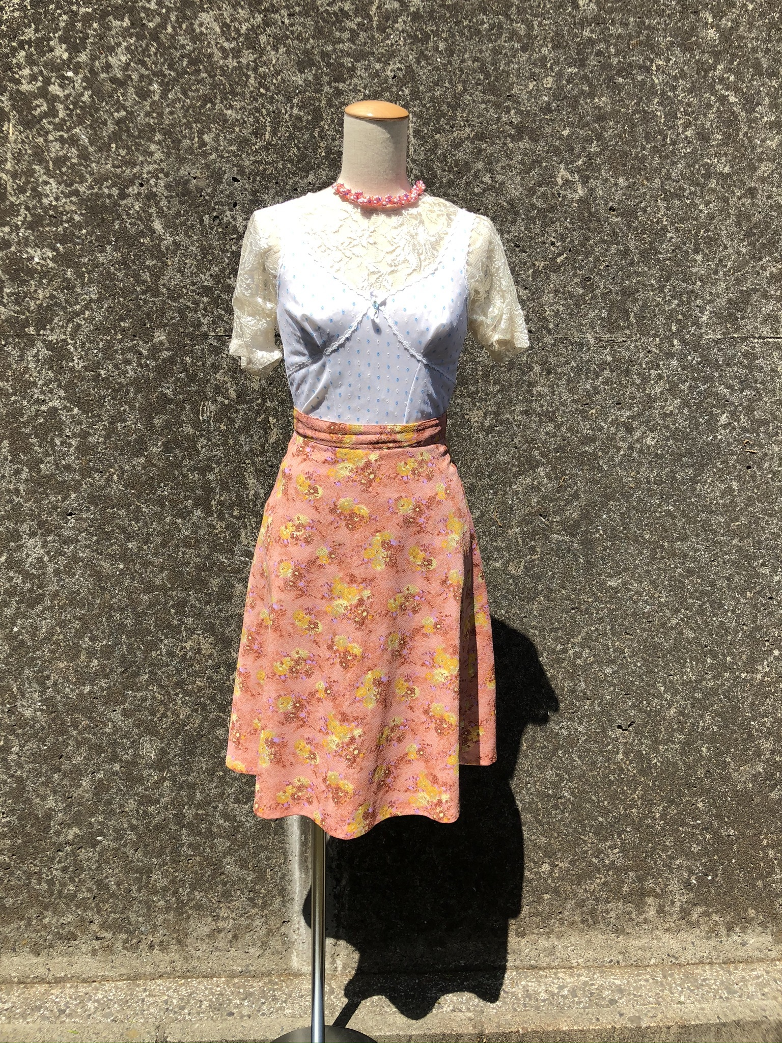flower printed flare skirt