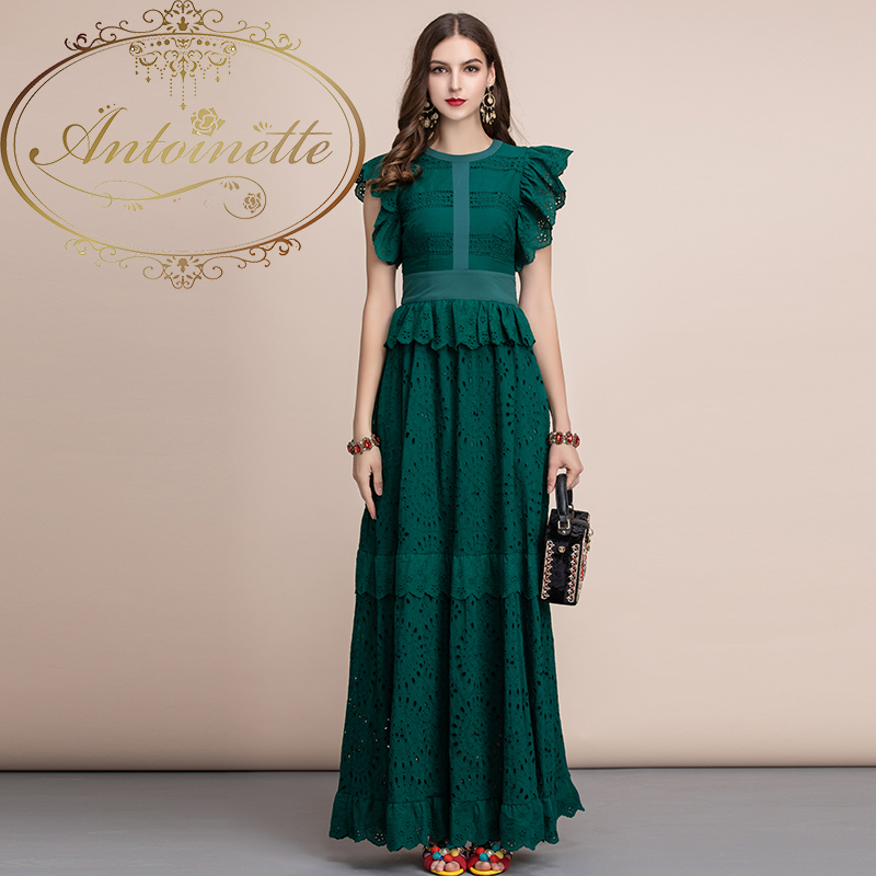 Elegant Solid Maxi Long Dress Women's Ruffles Sleeve Front Self Belted Cotton Formal Party Dresses Gown