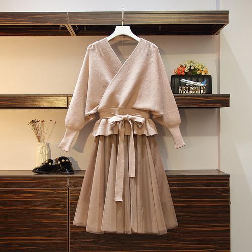 ニットセーター+メッシュスカートSET