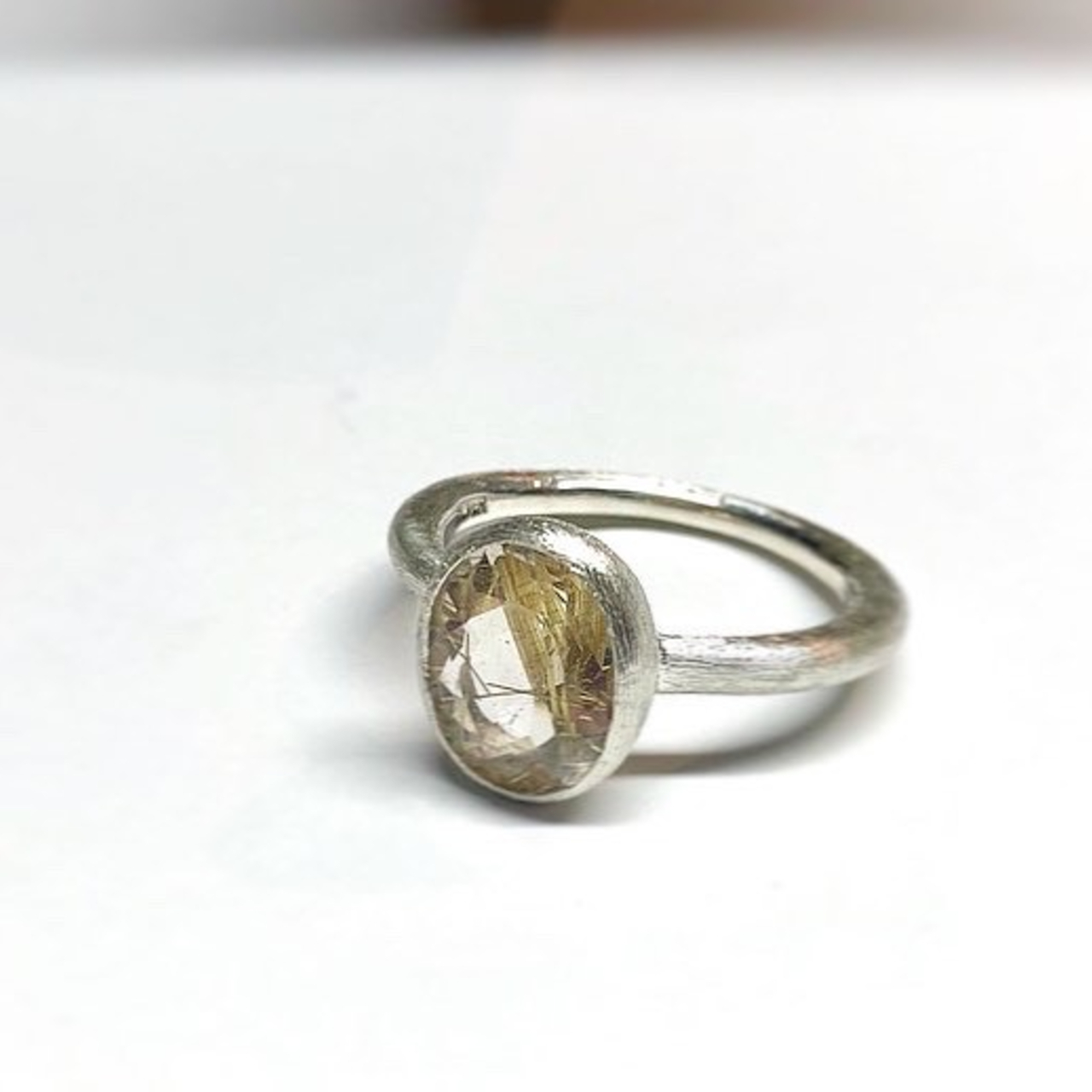 【1OMSV】『One off』 Rutile quartz oval facet cut ring