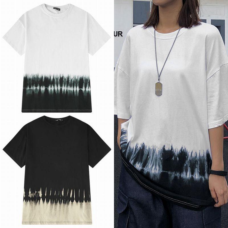 ユニセックス 半袖 Tシャツ メンズ レディース シンプル タイダイ染め オーバーサイズ 大きいサイズ ルーズ ストリート