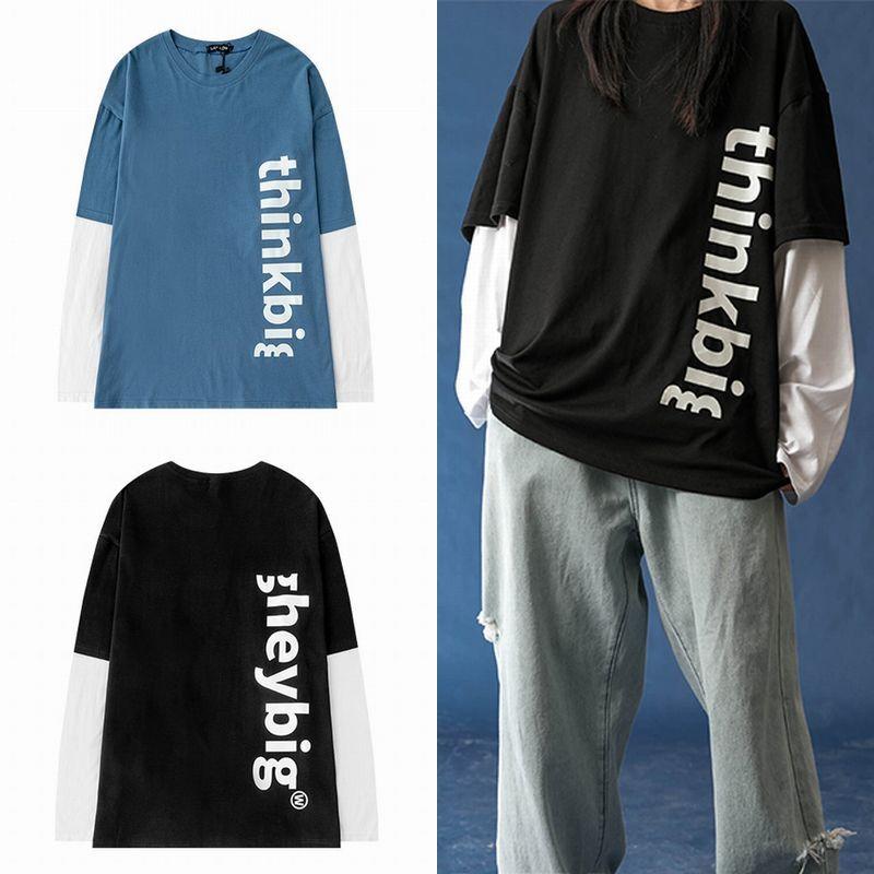 ユニセックス 長袖 Tシャツ 韓国ファッション メンズ レディース 重ね着風 フェイクレイヤード 英字 ラウンドネック オーバーサイズ 大きいサイズ ストリート