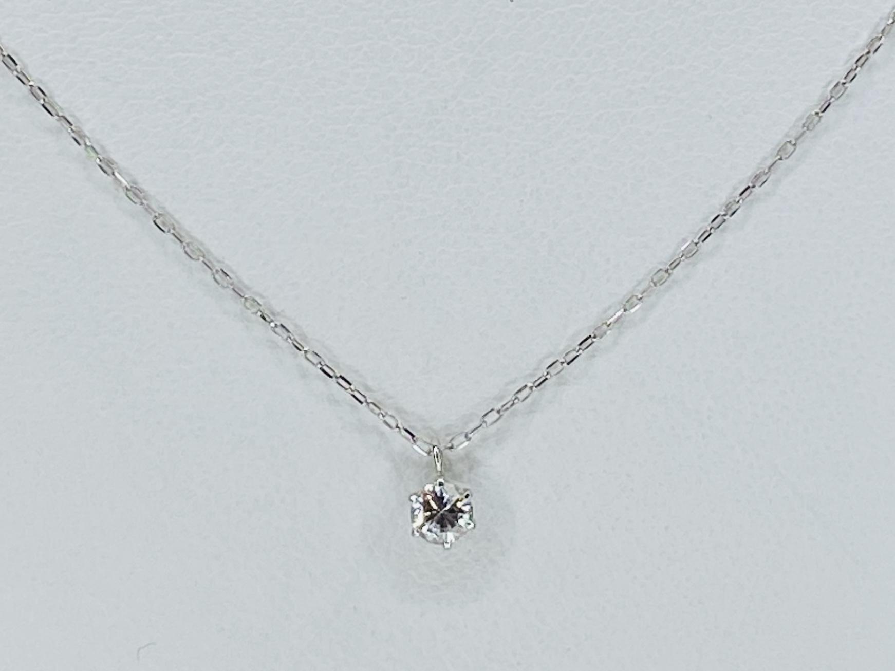 K18WG 0.1ct ダイヤモンドネックレス ○