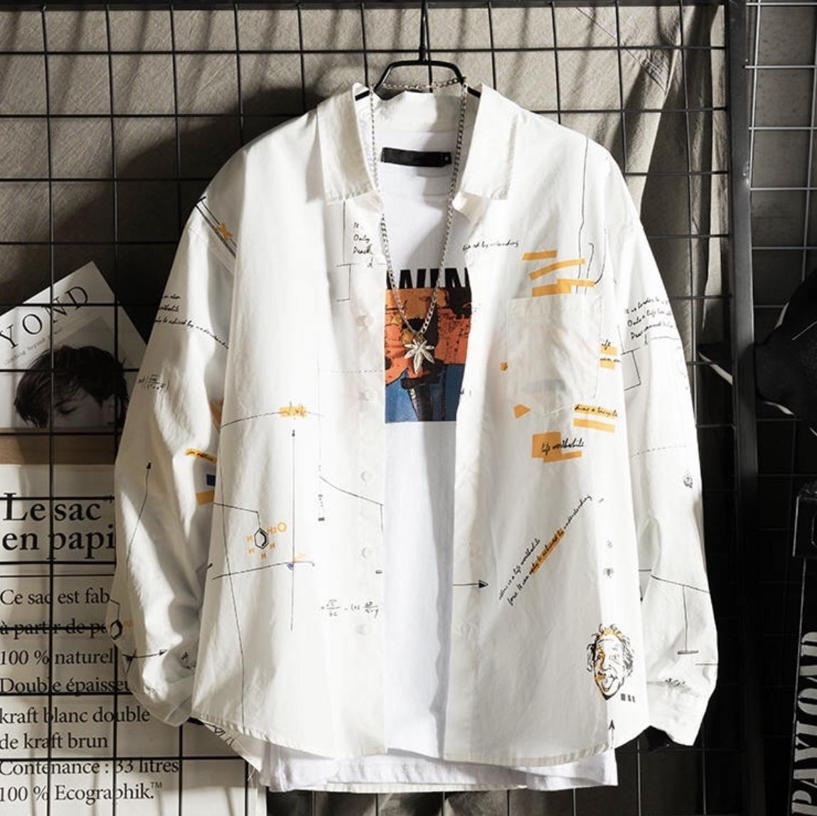 カジュアルデザインプリント ジャケット ビッグシルエット 古着 シャツ