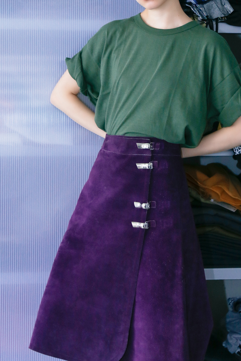 70's Purple Leather Skirt