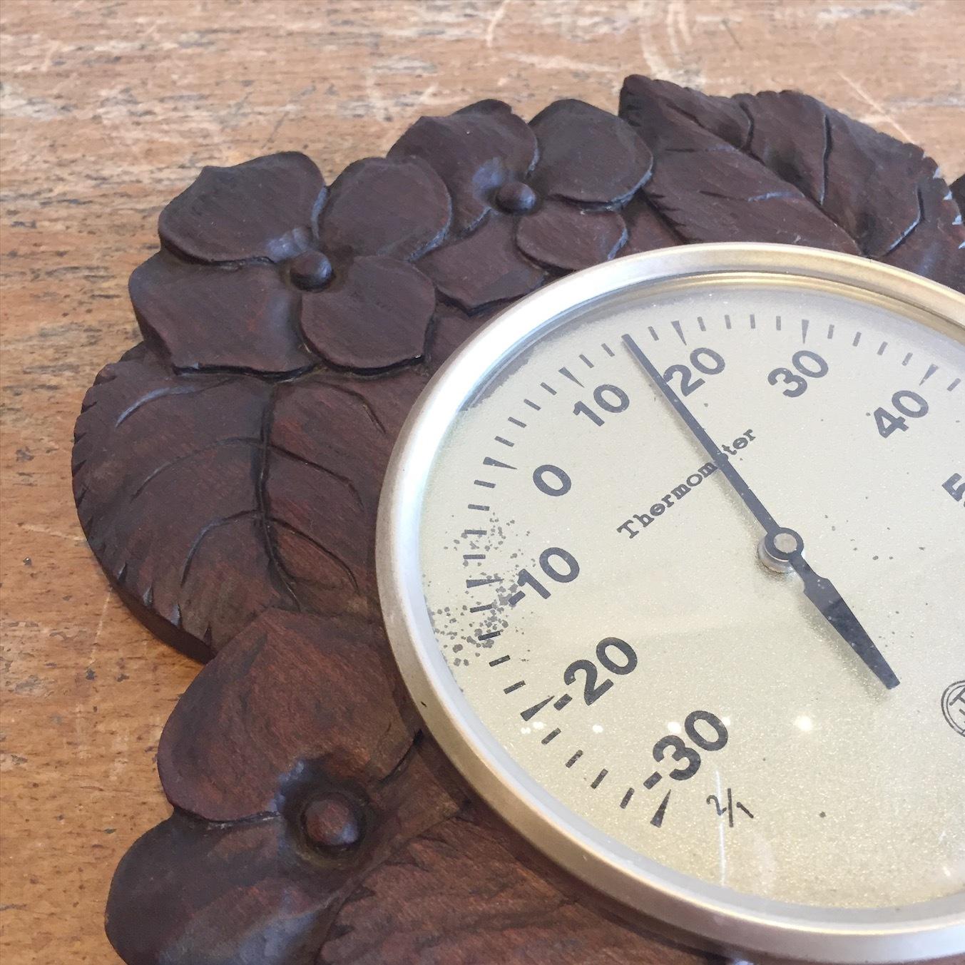 木彫り温度計