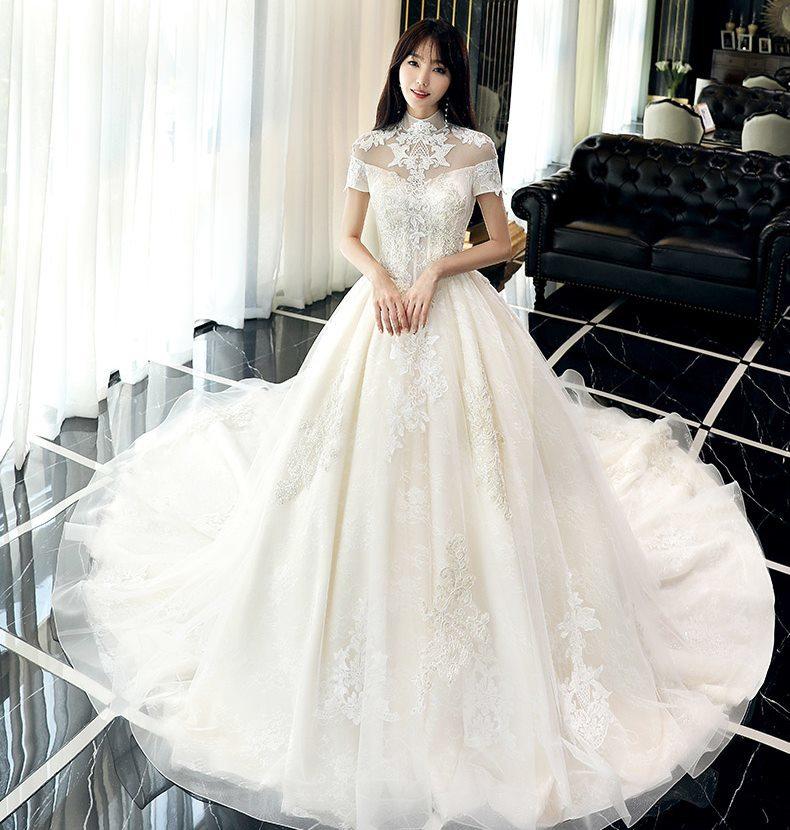 83360937797b5 (twdgdrsbig-x0008) 刺繍 ハイネック 半袖 Aライン ウェディングドレス 白 二次会 花嫁 ウェディングドレス 大きいサイズ  ウェディングドレス 袖あり