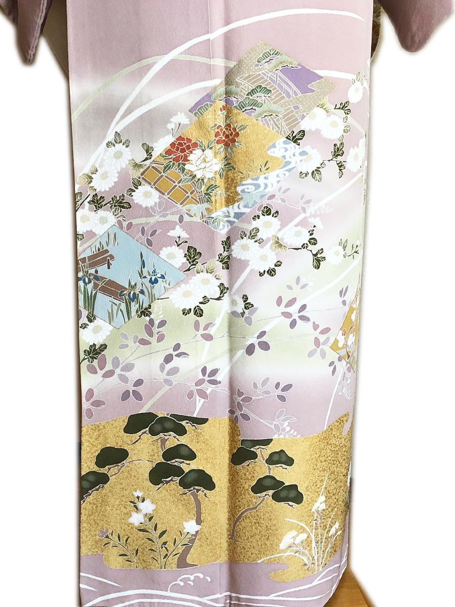 レンタル色留袖■押えた桃色地 牡丹や菖蒲金彩に松と桔梗柄■irotome4【往復送料無料】 - 画像4